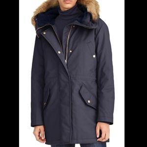 J Crew blue quilted puffer coat parka
